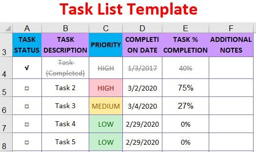 Task To Do List Template from www.wallstreetmojo.com